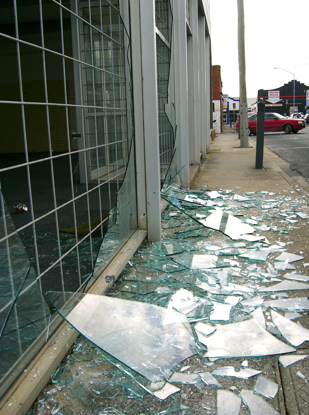 Broken shop window Film in Long Island
